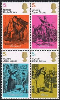 GB SG824a 1970 Literary Anniversaries 4 x 4d se-tenant unmounted mint